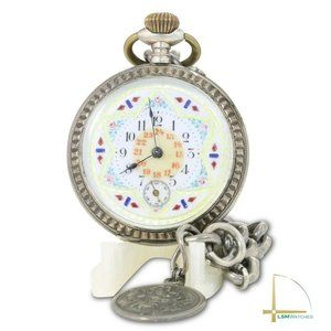Accessories - Pocket Watch White Enamel with Red & Blue